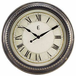 4655G Geneva Clock Company 16 Plastic Antique Gold Finish Analog Wall Clock