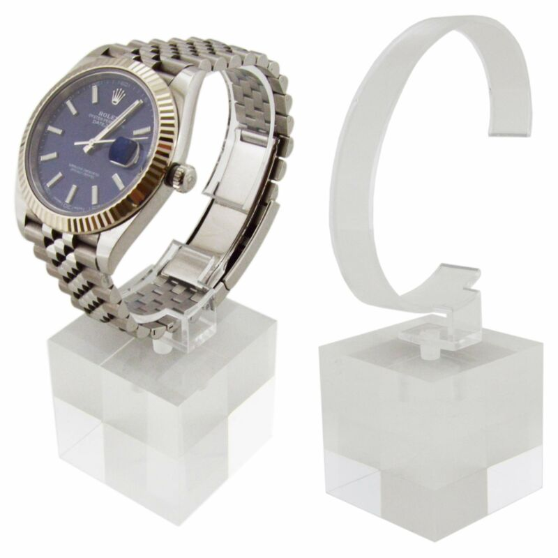 2 Pack of Crystal Clear Watch Stands with Sturdy Acrylic Weighted Base