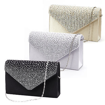 (Large Ladies Evening Satin Bridal Diamante Clutch Bag Prom Envelope Handbag)
