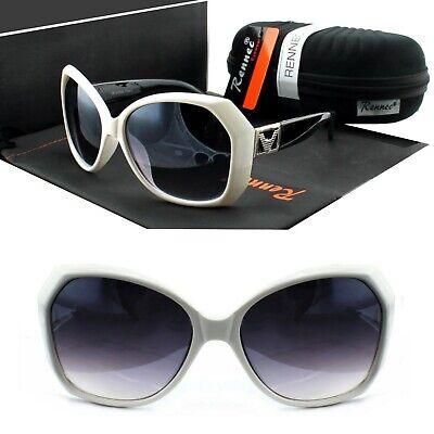 Große Damen Sonnenbrille Schmetterling Eckig Schwarz Weiß Lila Rennec VD2 BOX