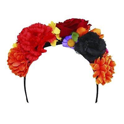 Womens Day of the Dead Mantilla Flower Headband Crown Hippie Halloween Costume - Dead Hippie Costume