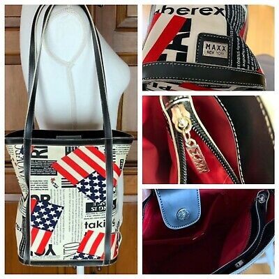 Maxx New York Flag Patriotic Canvas Leather Double Handle Tote Bag ()