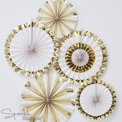 METALLIC GOLD & WHITE FAN DECORATIONS x 5 -Baby Shower/Hen Party- RANGE IN SHOP
