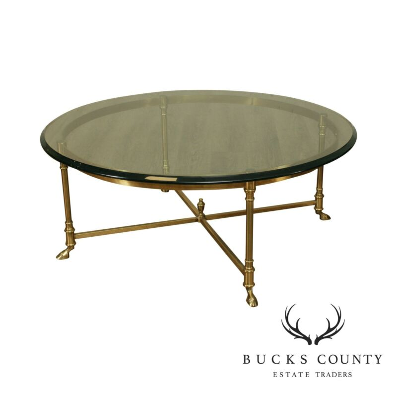 Vintage Italian Round Glass and Brass Hoof Foot Coffee Table