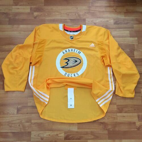 Pro Authentic Adidas Anaheim Ducks Practice Jersey Yellow 58 W/ Fight Strap - $65.00