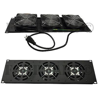 """3 Fan (120mm) 19"""" Rack Mount Cooling Panel System DJ Rack Case Server Cabinet 3U"""