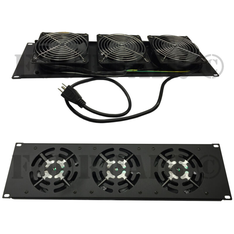 "3 Fan 19"" Rack Mount Cooling Panel System DJ Rack Case Server Cabinet 3U 110V"