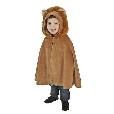 Unisex Toddler Child Lion Animal Brown Soft Hooded Cape Halloween Costume 2-4