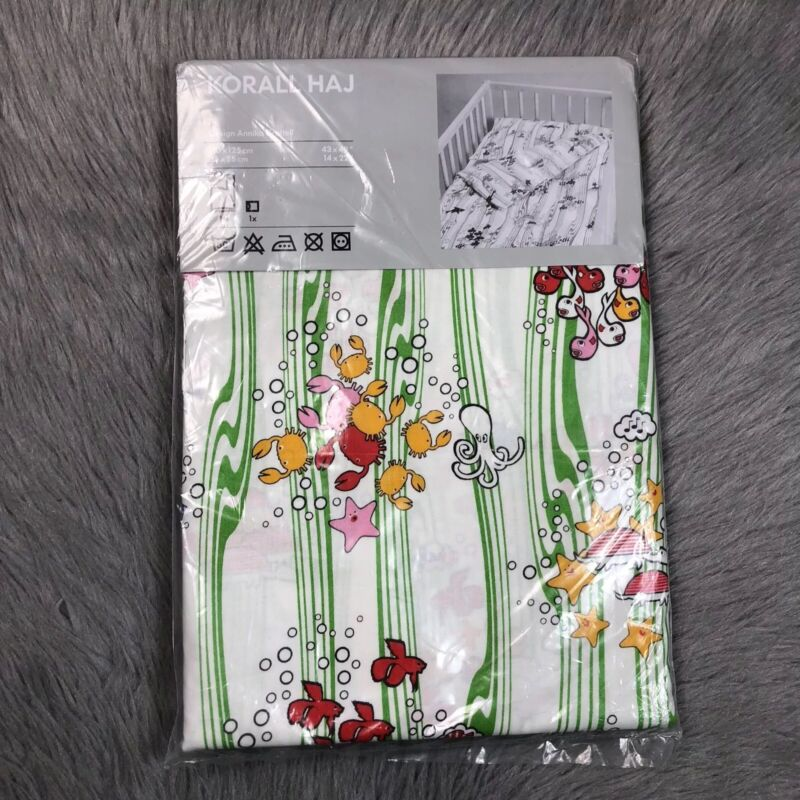NEW Ikea Korall Haj Sea Ocean Animal Crib Baby Quilt Pillowcase Cover Set