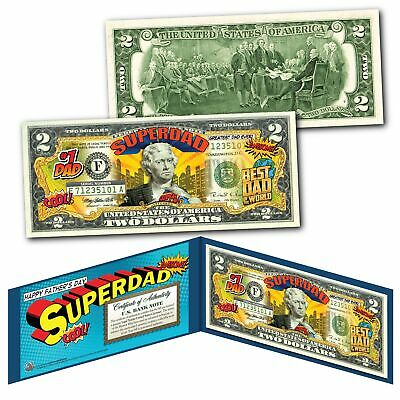 HAPPY FATHERS DAY #1 DAD SUPERHERO Legal Tender U.S. $2 Bill w/ DISPLAY & COA