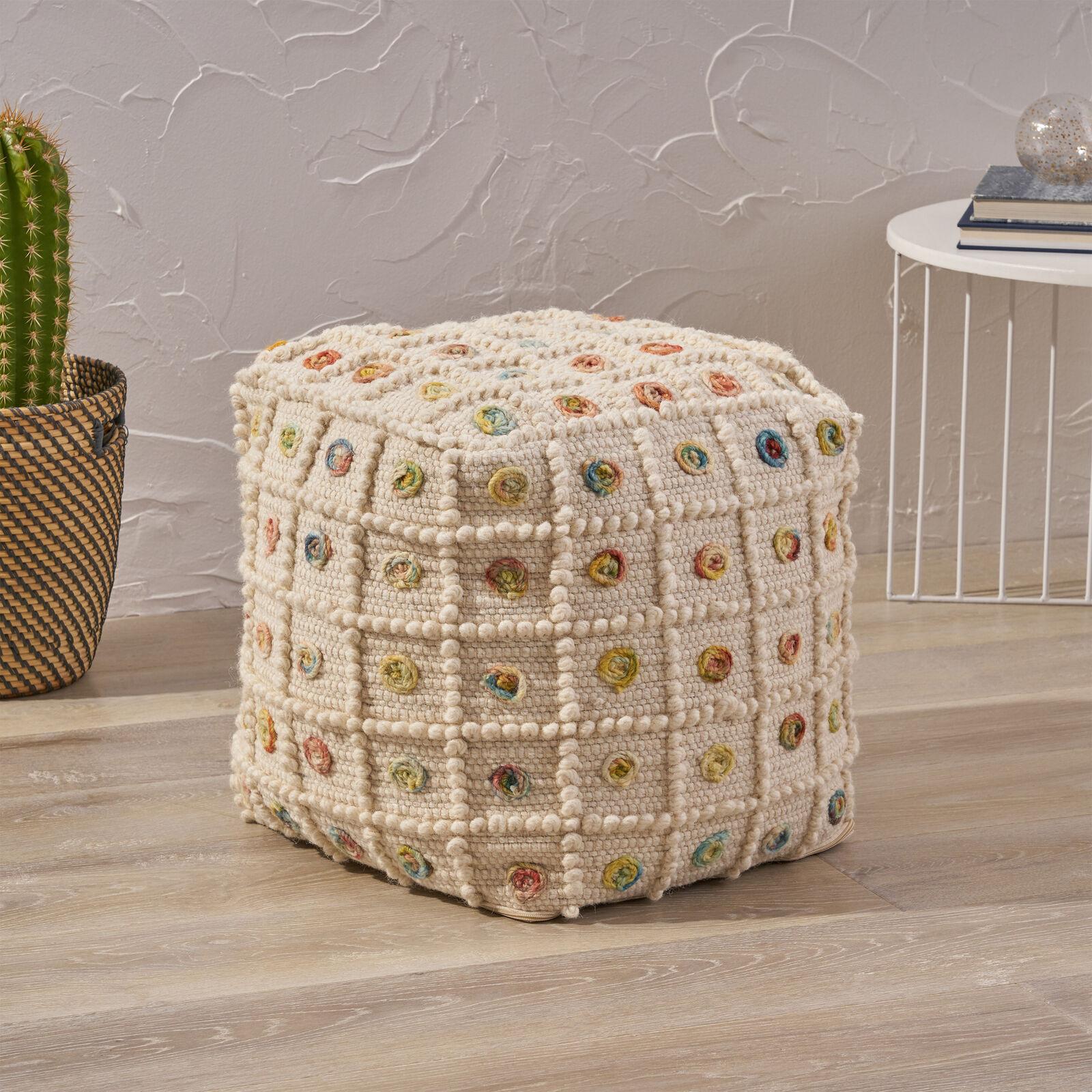 Jaceyon Boho Wool and Cotton Ottoman Pouf Furniture
