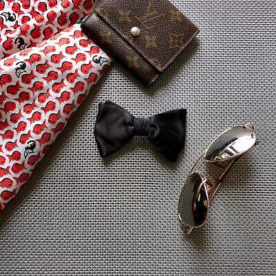 1960s – 70s Men's Ties | Skinny Ties, Slim Ties Vintage 1960s Rat Pack Mens Clip-On Bow Tie Black Silk Classic Gatsby Formal  $12.75 AT vintagedancer.com