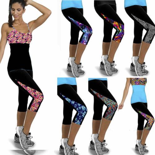 Damen Sport Yoga Fitness Leggings Hosen Gym 3/4 Hose Slim Kurz Caprihose Leggins
