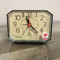 Vintage Sunbeam Quartz Bedside Table Battery Operated Travel Brown Alarm Clock