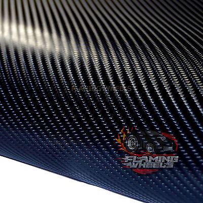 1.5m x 30cm 4D Carbon fibre vinyl wrap BLACK sticker decal car van air drain