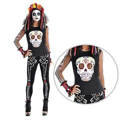 Erwachsene Damen Tag der Toten Glitzer Zuckerschädel T-Shirt Halloween Kostüm (Zucker Schädel Kostüm)