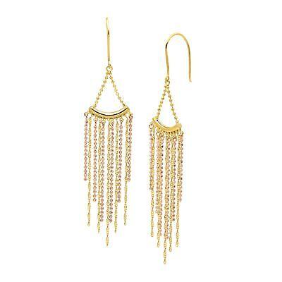 Beaded Fringe Drop Earrings in 18K Two-Tone Gold over Sterling Silver 18k Two Tone Earrings