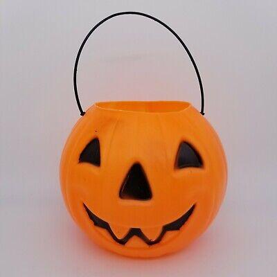 Small Halloween Blow Mold Grinning Jack-o-lanter Pumpkin Trick-or-treat Bucket