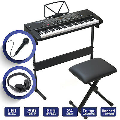 Digital Piano Keyboard 61 Key - Electronic Keyboard w Stand