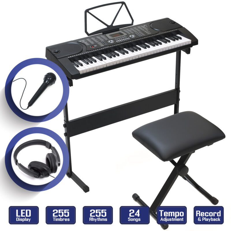 Digital Piano Keyboard 61 Key - Electronic Keyboard w Stand Stool Headphones