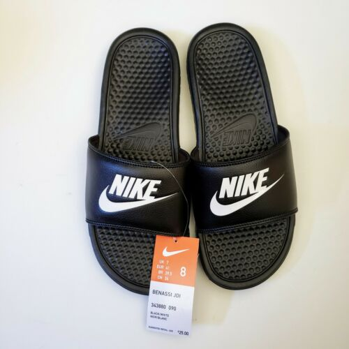 NEW Nike Benassi Men's 8 JDI Logo Black White Slides Sandals