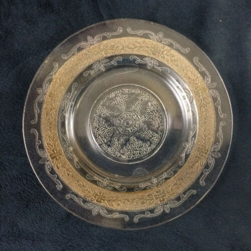 Macbeth Evans Glass Co S PATTERN Stippled Rose Amber Band Bread Plate
