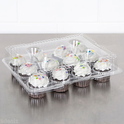 12 Compartment 100 Case Hinged Dome Clear Plastic Cupcake Container +Rebate