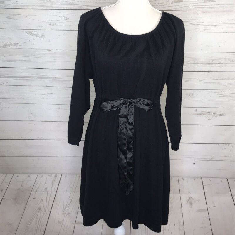 Motherhood Maternity Womens Sweater Tunic Tie Waist Black Long Sleeve L Large