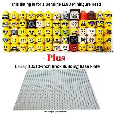 1 LEGO Minifigure Head PLUS 1 Grey 10x10-inch 32x32-stud compatible base plate