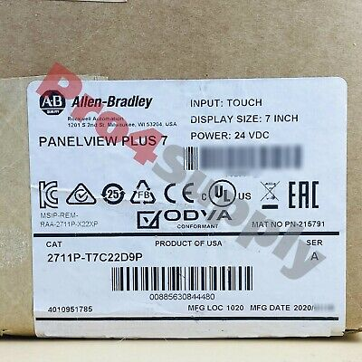 20192020 Us Stock Allen-bradley Panelview 7 Plus Panel 2711p-t7c22d9p