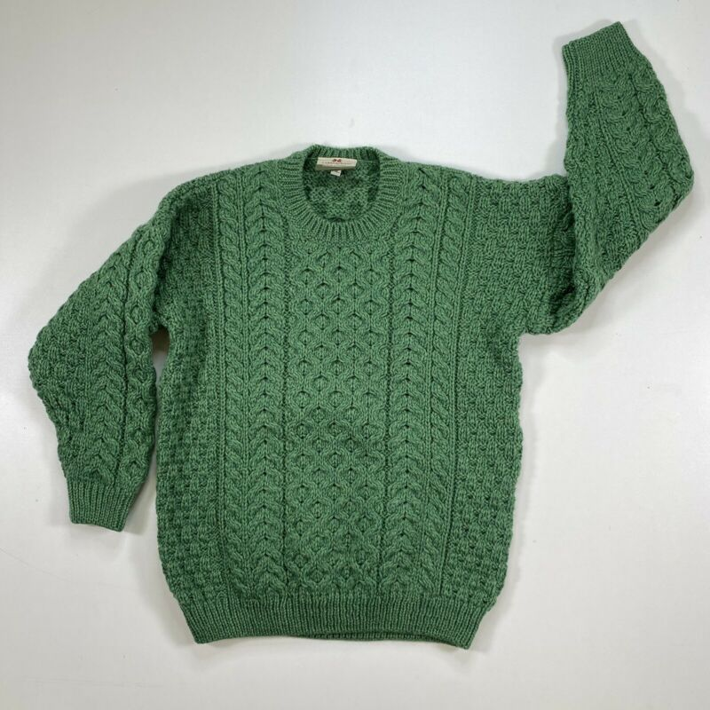 CARRAIG DONN KIDS IRISH MERINO WOOL CREW CUT SWEATER KIWI GREEN