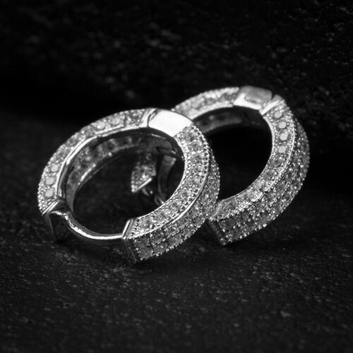 Mens Fully Iced VVS Lab Simulated Diamond Sterling Silver Huggie Hoop Earrings