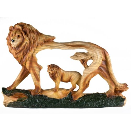 "Lion Faux Carved Wood Look Figurine 7"" Long Resin Statue New!"