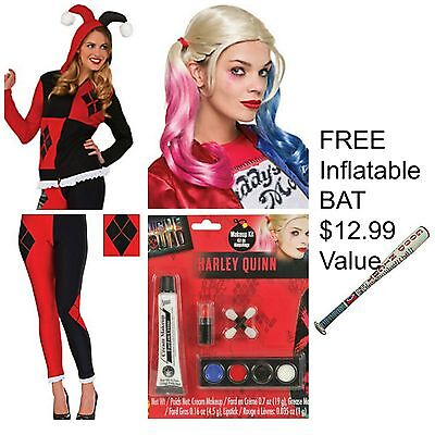 Harley Quinn Costume Complete ♢ Hoodie ♢ Leggings ♢ Wig ♢ Makeup Inflatable Bat ()