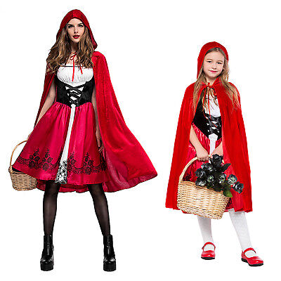 Women Girls Little Red Riding Hood Long Cape Party Fancy Dress Halloween Costume (Red Riding Hood Costumes For Girls)