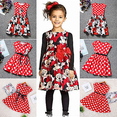 Disney Minnie Kleid (Kinder Mädchen Sommerkleid Minnie Mouse Princess Urlaub Disney Party Swing Kleid)
