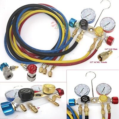 4 Way Ac Manifold Gauge Set R410a R22 R134a Whoses Coupler Adapters 12 Acme