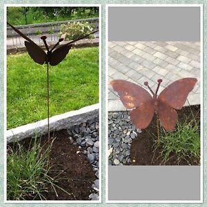 Rost-Deko Gartenstecker Schmetterling  Gartendekoration Blumenbeet Dekoration