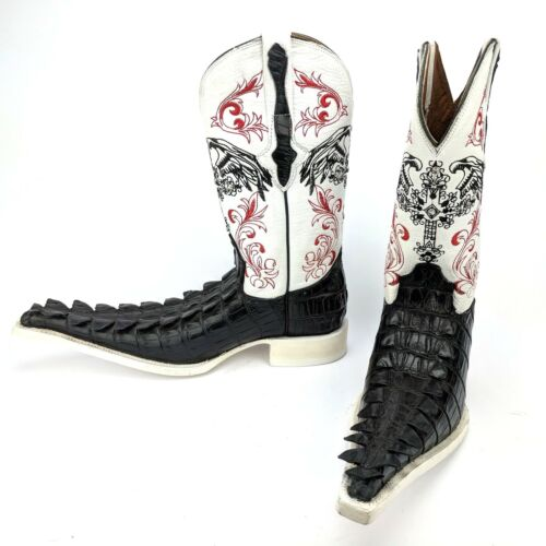 El, General, Mens, Cowboy, Boots, White, Leather, &, Black, Imitation, Caiman, Tail, Size, 6