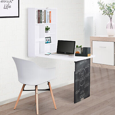 HOMCOM Wall Mounted Convertible Desk Storage Black Board