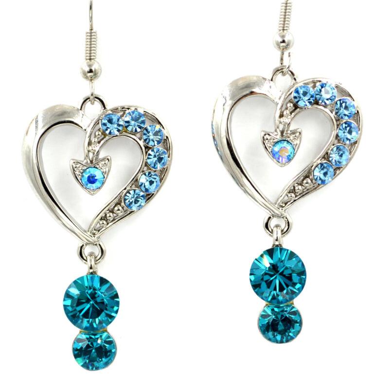 Swarovski Elements Crystal New Aquamarine Silver Love Heart Dangle Earrings Gift