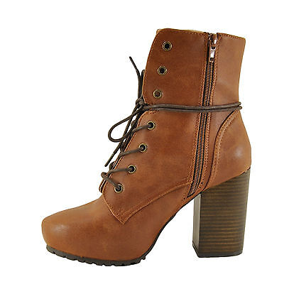 Qupid Sotto 01 Camel Women's Almond Toe Lace Up High Heel Bo