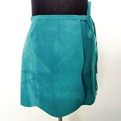 ANNA SUI ANTHROPOLOGIE TEAL GENUINE SUEDE FLAP A-LINE MINI SKIRT SIZE 4 NEW