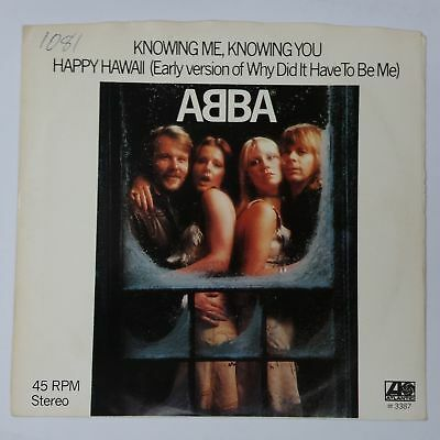 """ABBA Knowing Me, Knowing You bw Happy Hawaii 3387 7"""" 45rpm Vinyl VG+ Cvr VG+nr++"""