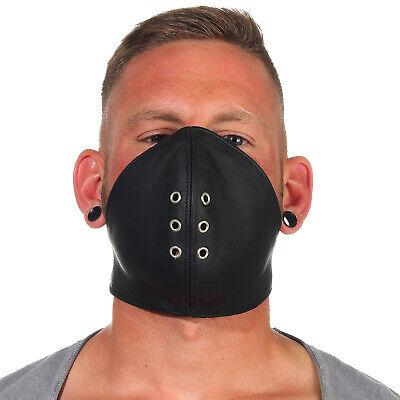 Rind Leder Mund Bedeckung WindSchutz Gesichtsmaske Steampunk Biker Maske Schw. A