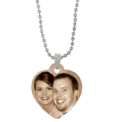Double Sided Full Color Custom Personalized Photo Heart Dog Tag Picture Pendant