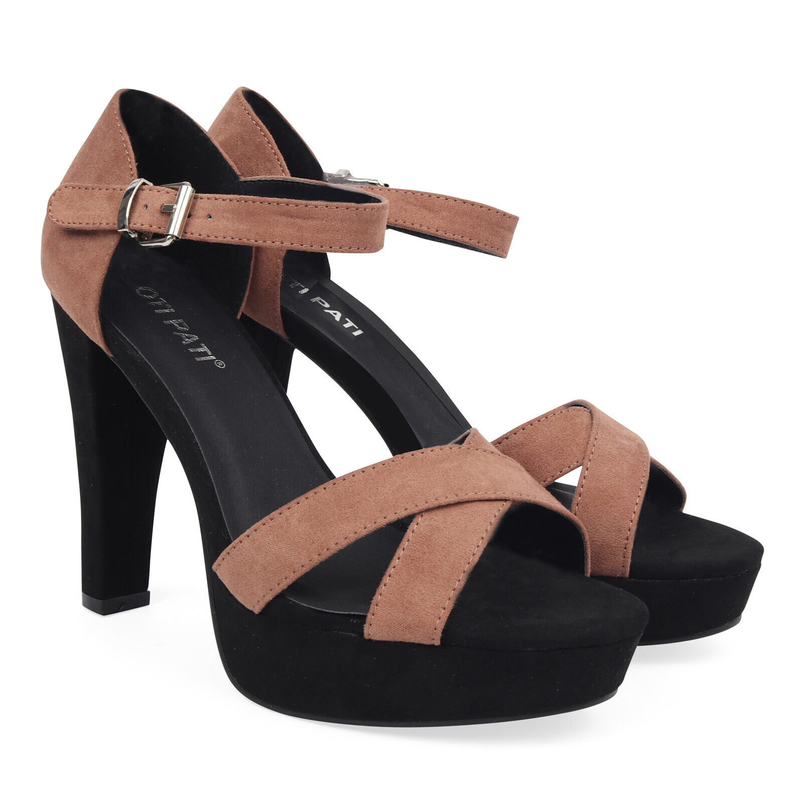 Ladies Strappy Formal Party Faux Suede Chunky Block High Heels Peep Toe ALL SIZE