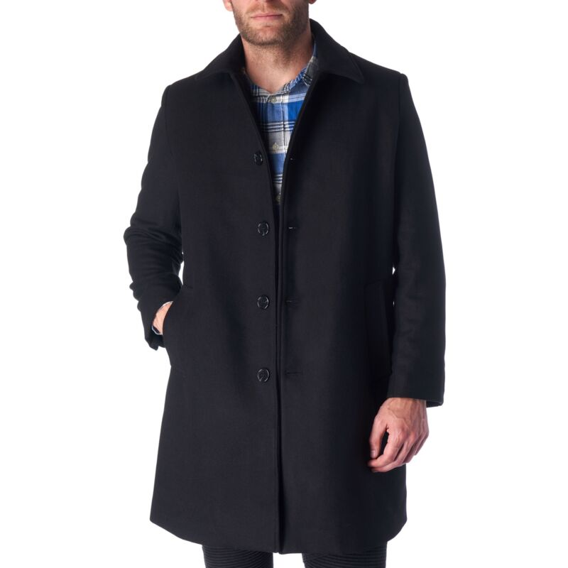 Hammer Anvil Mens Wool Blend Single Breasted Walking Coat Tailored Long Jacket