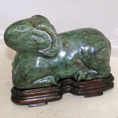 "Vintage ? Chinese Carved Green Serpentine RAM Statue w/ Wood Display Stand  (7"")"