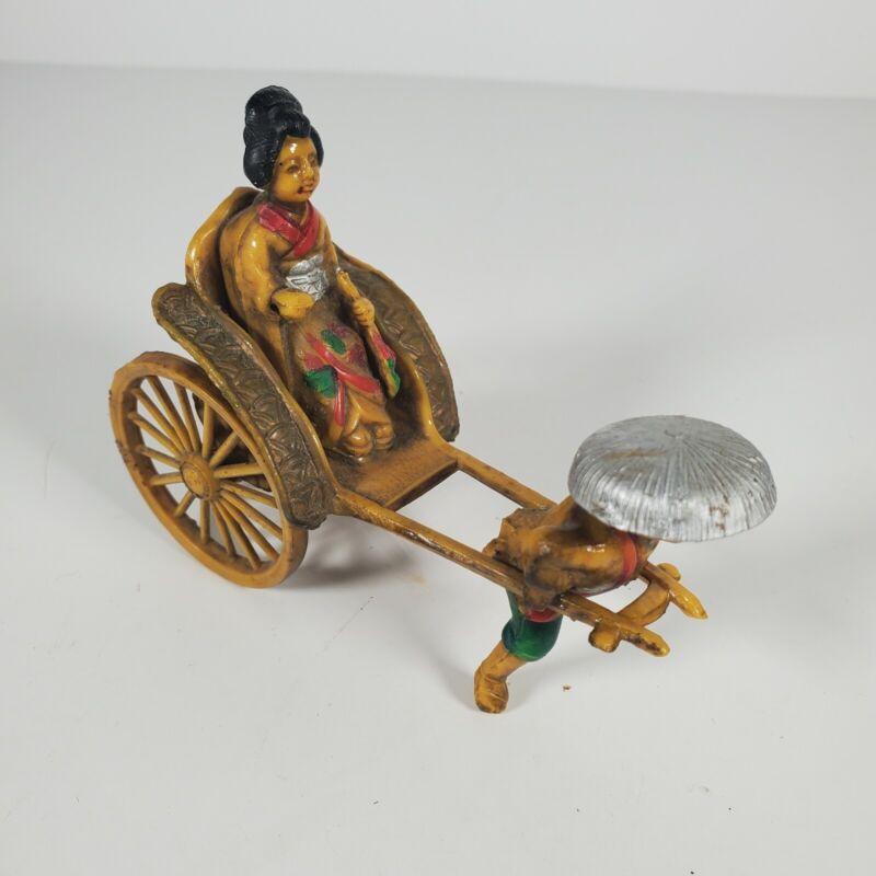 Vintage Asian Celluloid Man Pulling Geisha in Rickshaw Cart Figurine